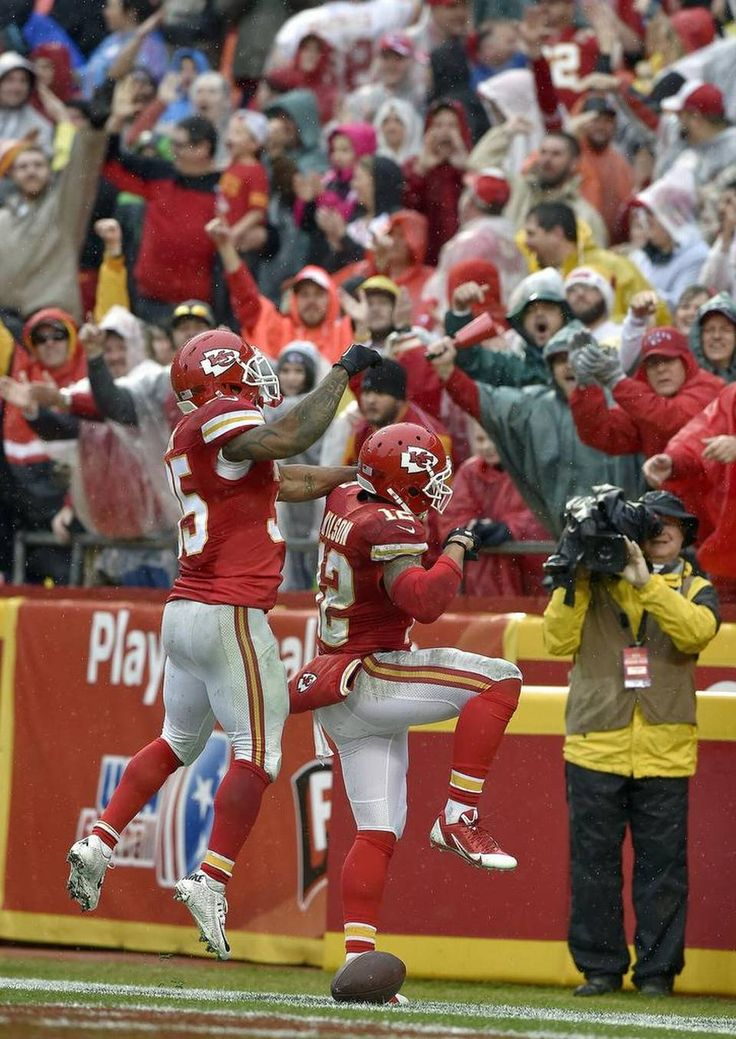 Kansas City Chiefs wide receiver Albert Wilson (12) is congratulated by running back Charcandrick West (35) after scoring a touchdown in the second quarter during Sunday's football game against the San Diego Chargers on December 13, 2015 at Arrowhead Stadium in Kansas City, Mo.