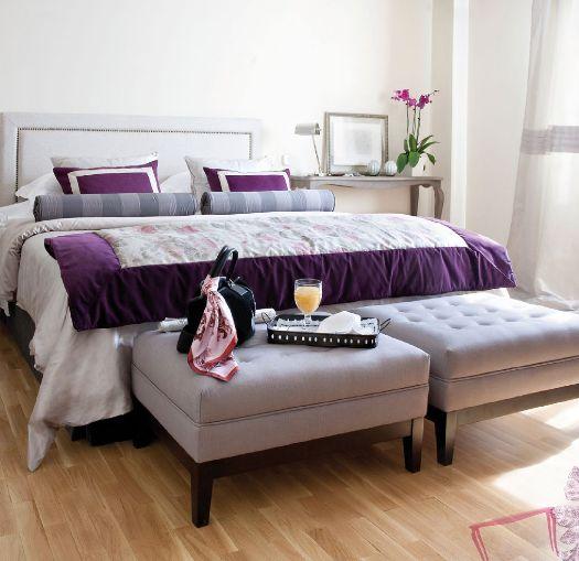 Cama dormitorio telas cojines colcha puffs bedroom bed - Ka international ...