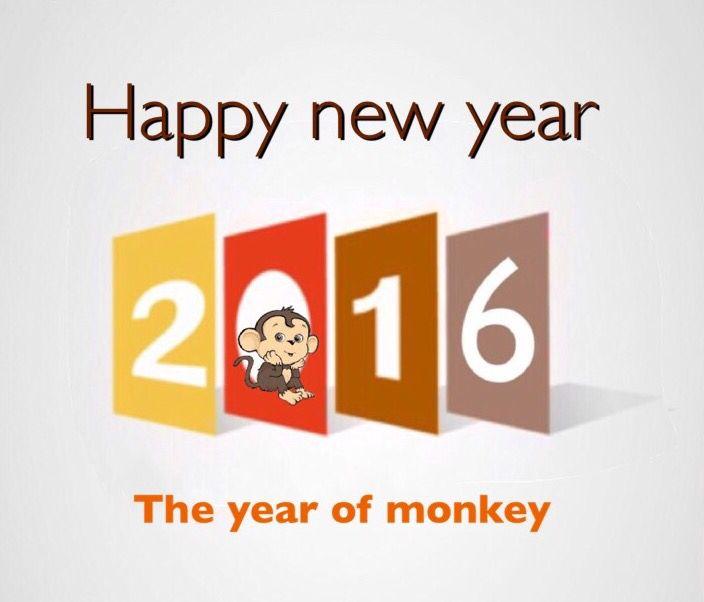 Feliz año nuevo 2016¡ Happy new year 2016, según calendario Chino, el año del mono