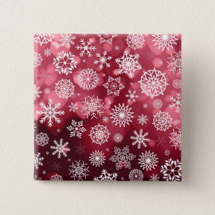 Snowflakes on a Valentine Background Pin Button - valentines day gifts gift idea diy customize special couple love