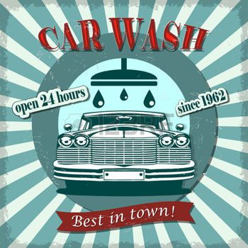 vintage car service: Car wash retro poster. Illustration