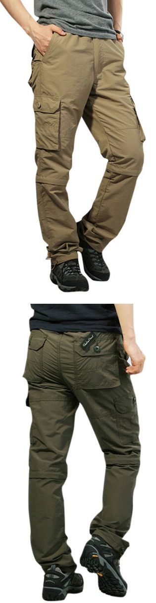 US$32.28 Mens Outdoor Elastic Waist Casual Pants Multi-pockets Detachable Sport Shorts