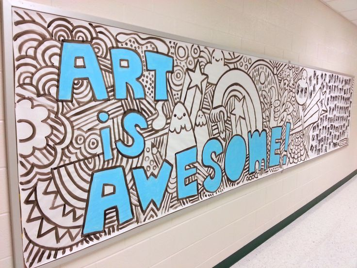 "Hallway Bulletin Board ""Art Is Awesome"". This would be so fun for them to color in during open house or during the first day of class!"