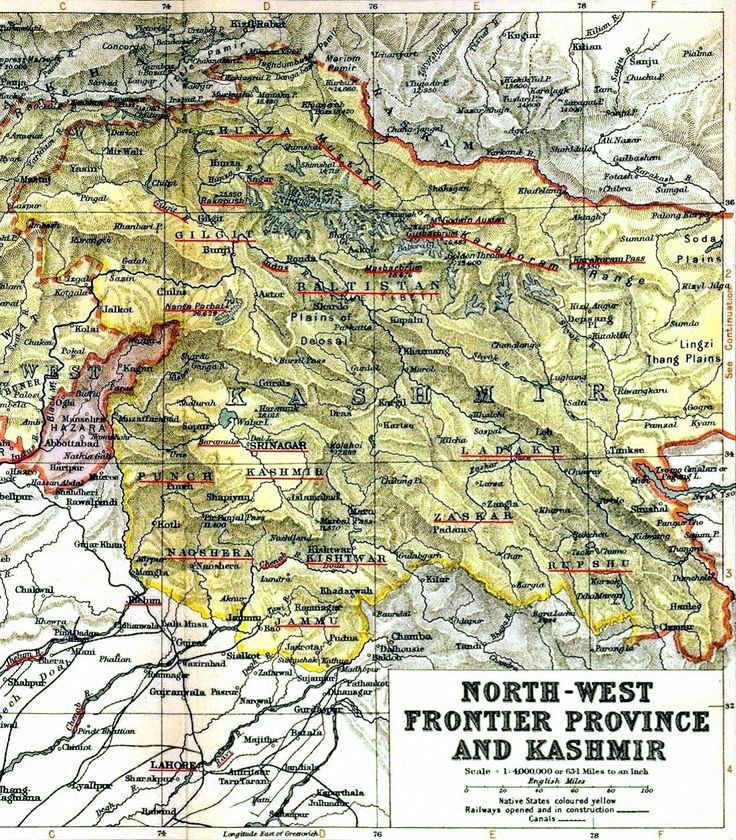 1909 map of the Princely State of Jammu and Kashmir