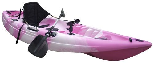 Fishing Kayak Sit-on Kayak with 5 Rod Holders, Padded Seat, Paddle and Electric Motor (Pink Camo)