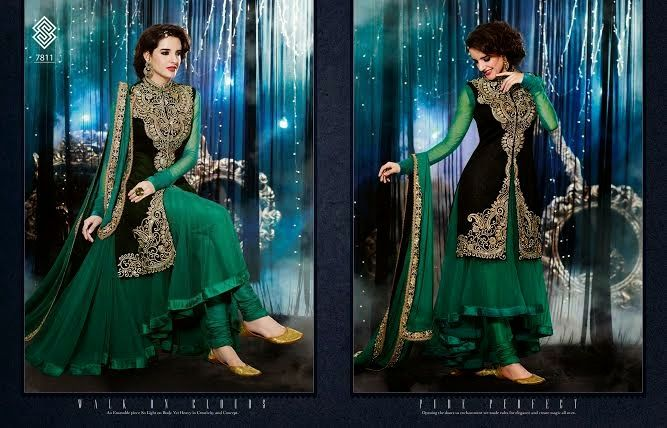 Very Beautifully Designed Net velvet Floor length Green Anarkali With Navy blue Jacket and Superb thread Embroidery and Stone work en-crafted. Comes along with Santoon Bottom and inner and Chiffon Duppatta.