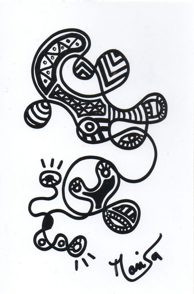 castro dessin 9 Fait en 1 exemplaire unique au marker noir sur papier photo 10x15 ©Marisa Castro #france 2015