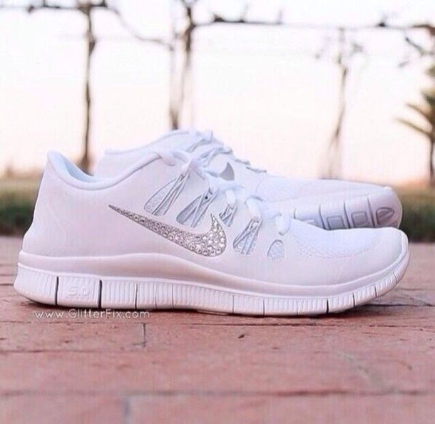 Want some all white nikes! Maybe without the glitter. Shoes: white nike  running nike free run nike free runs sparkles glitter glitter pretty