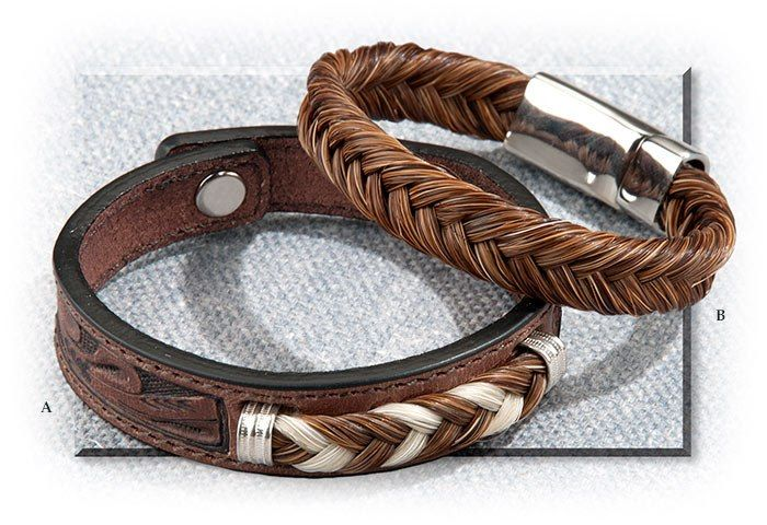 TOOLED LEATHER AND BRAIDED HORSEHAIR BRACELET - MEDIUM FITS TO 7- 1/4 BROWN LEATHER WITH BROWN/CREAM