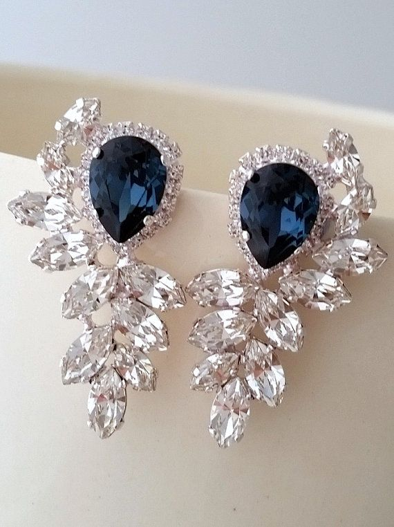 Navy blue and clear diamond Statement stud earrings by EldorTinaJewelry | Navy blue wedding | navy blue and silver earrings | Gatsby style earrings | High fashion | http://etsy.me/1HRUqSR