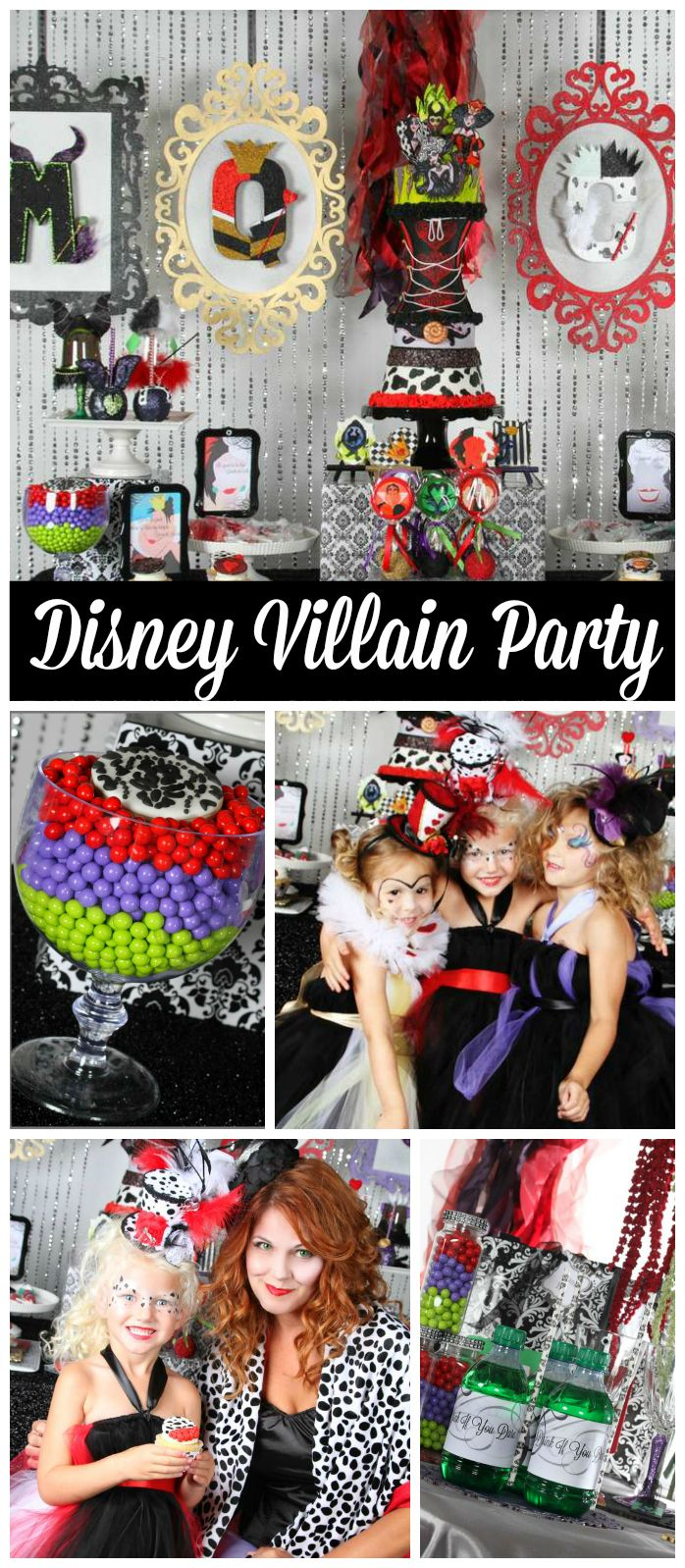 A glamorous Disney villain Mommy and Me party with dress up and a fantastic dessert table!  See more party planning ideas at CatchMyParty.com!