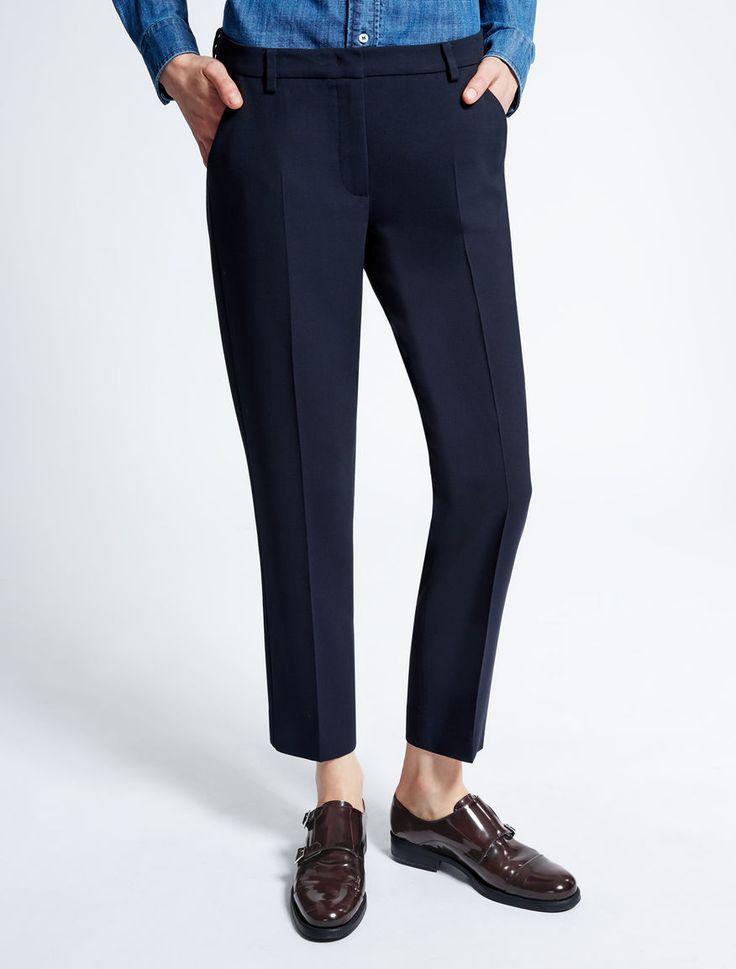 Max Mara LECITO blu marino: Pantaloni in tela di lana e viscosa.