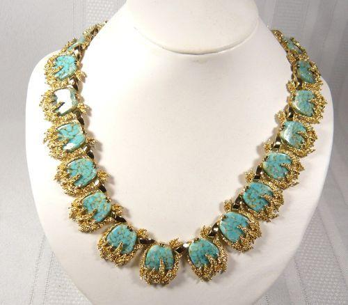 1950's Vintage Signed Boucher Blue Turquoise Gold Necklace Swarovski Bling   eBay