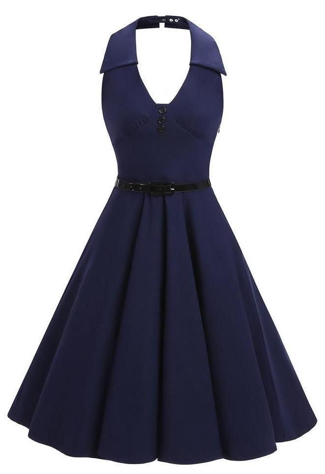 Women s Navy Halter Neck Vintage 1950s Hepburn Rockabilly Swing Dress 3d7d977234d9