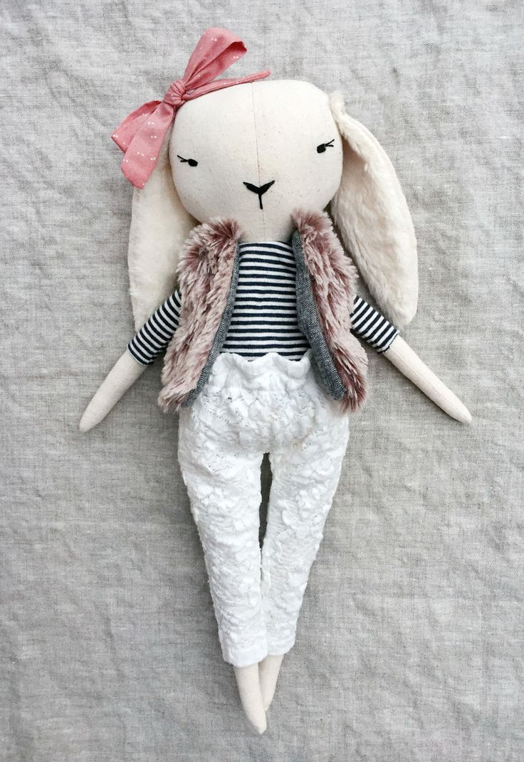 'Lapine Marine' Handmade Linen Bunny by lespetitesmainss on Etsy - here is where you can find that Perfect Gift for Friends and Family Members