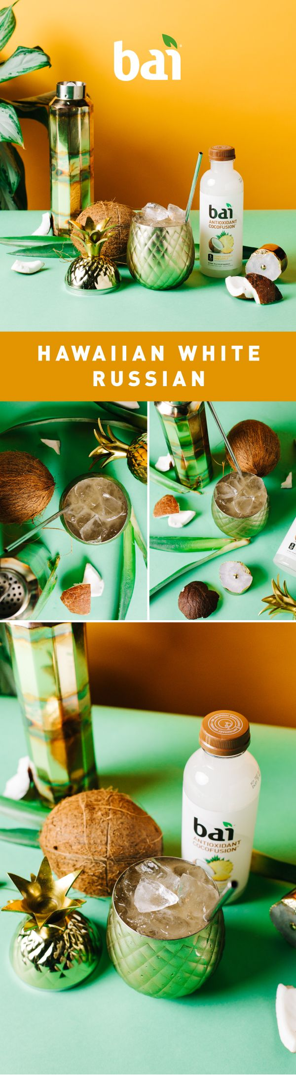 This Hawaiian White Russian will make you go from blizzard to beach day with just one sip. Featuring Bai Puna Coconut Pineapple, a tropical refreshment with just 5 calories, 1 gram of sugar and no artificial sweeteners. Please drink responsibly. Must be 21+.
