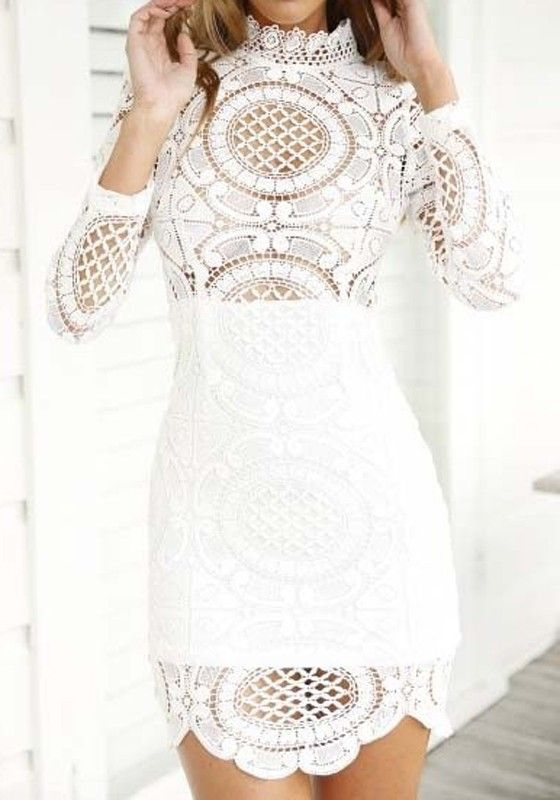 white plain hollowout lace wavy edge band collar long sleeve mini dress bridal shower