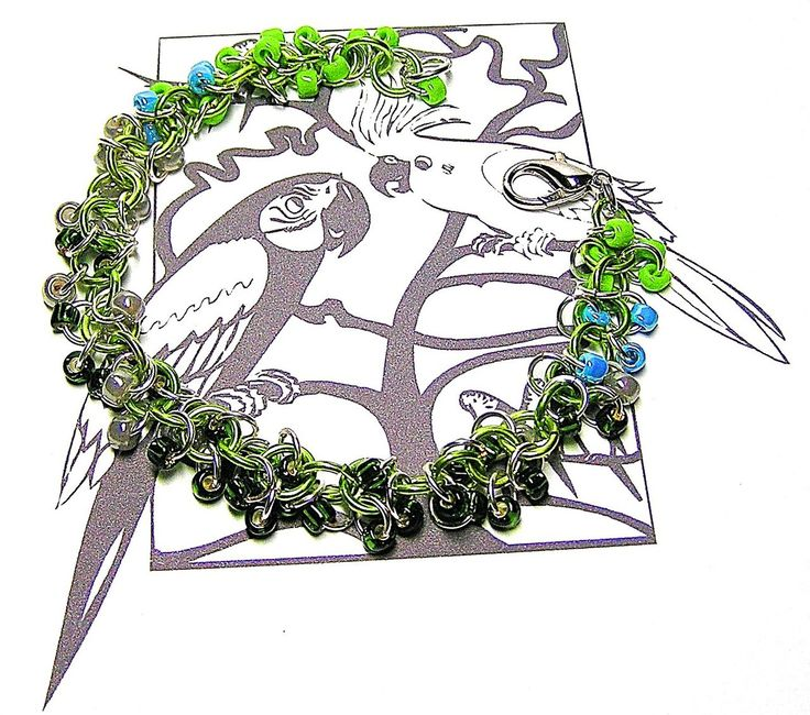 Pacific Parrotlet Chainmaille Bracelet - Enchanted Moon