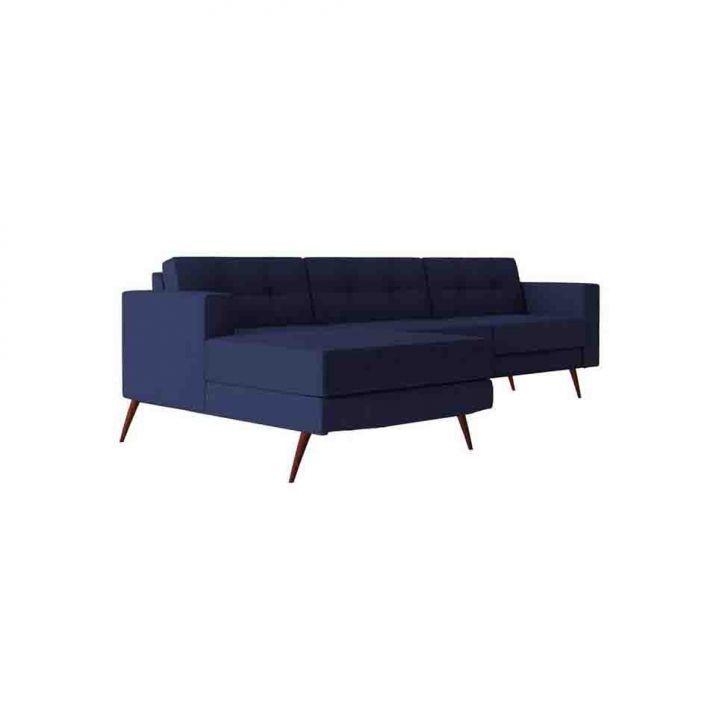 Sofá 3 Lugares Living com Chaise  Eco Algodão Azul Marinho