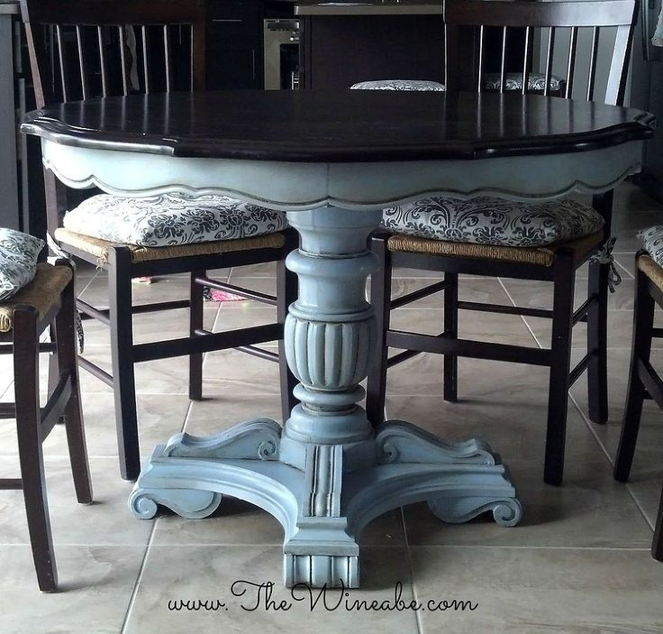 refurbished craisglist kitchen table with annie sloan chalk paint, furniture furniture revivals, painting, Craigslist Table After Espresso stain with Annie Sloan Chalk Paint Louis Blue with Dark Wax