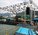 It is a close shot for floating music stage in Daegu, Korea. 대구에 설치된 수상무대 장면입니다.