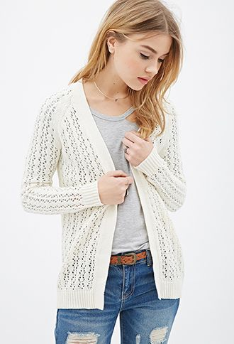 Ribbed Open-Knit Cardigan | FOREVER21