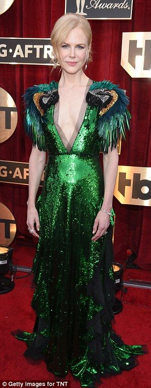 Shimmering: Nicole Kidman (wearing Gucci), Michelle Williams and Busy Philipps were on the...