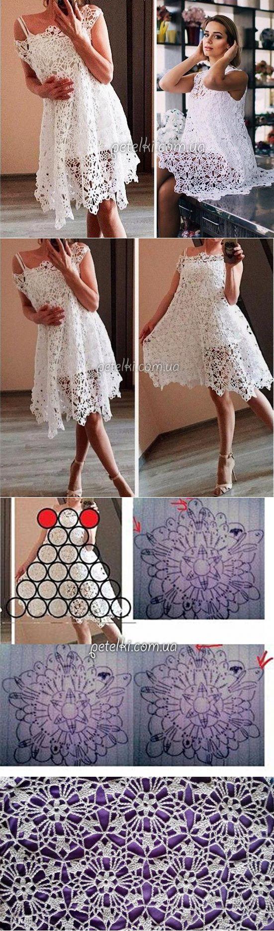 Нежное платье из мотивов. Схема