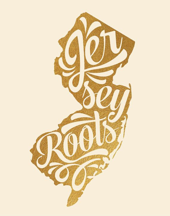 PLEASE NOTE: this is NOT real gold foil! It is designed to mimic the look of gold foil but is not actually metallic. Jersey Roots New Jersey print.