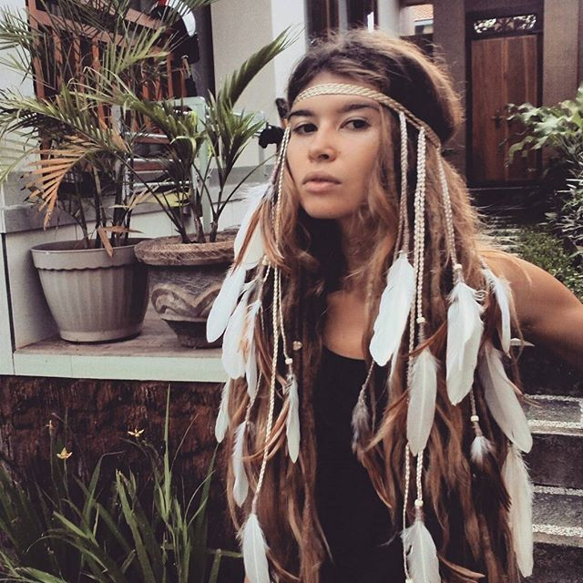 #boho #dreadhead #dreadlocks #dreadstyle #dreadgirls #headband #hippie #hair…