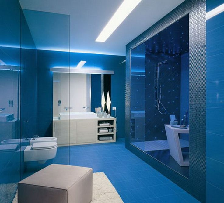 Bathroom : Fascinating Blue Bathroom Tile Decorated With Shower Glass Sink White Cabinets For Bathroom Lightning And White Shag Area Rug Wonderful Modern Bathroom Tile Ideas That You Feel In Private Heaven