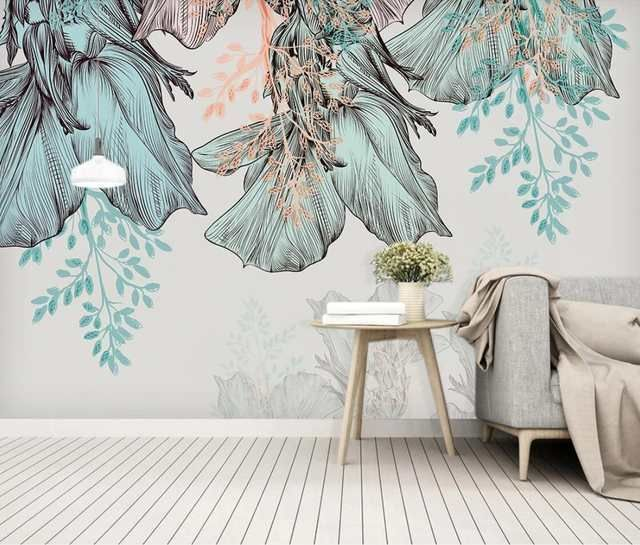 Online Shop Flower Wallpaper Cheaper Wall Mural Hd Minimalist Wall Paper Floral Canvas Prints For Bedroom Backgrou Cheap Wall Murals Home Wallpaper Wall Murals