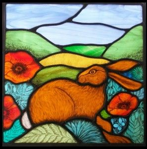 Beatuful stainedglass panel by Angie Dibble. haremoonstainedgl...Hare in the Garden of England