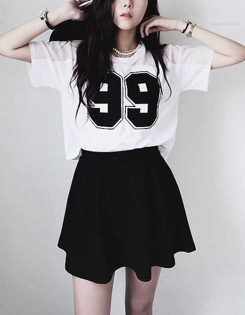 Girl outfit cool teen teenage college korea korean asian style kpop fashion school skirt cute