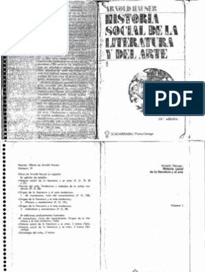 Hauser Arnold Historia Social De La Literatura Y El Arte Tomo