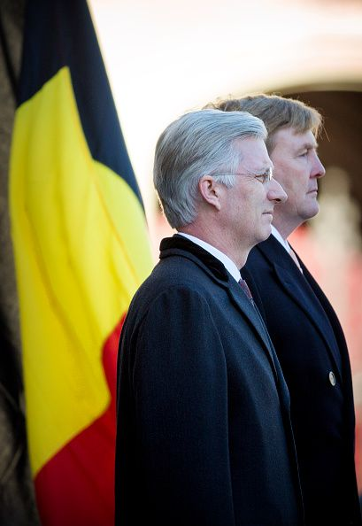 (R) King Willem-Alexander of the Netherlands welcomes King Philippe of Belgium (L) during an official welcome ceremony at the Dam Square in the front of the Royal Palace at the start of the three-day state visit on 28 November 2016 in Amsterdam, The Netherlands.