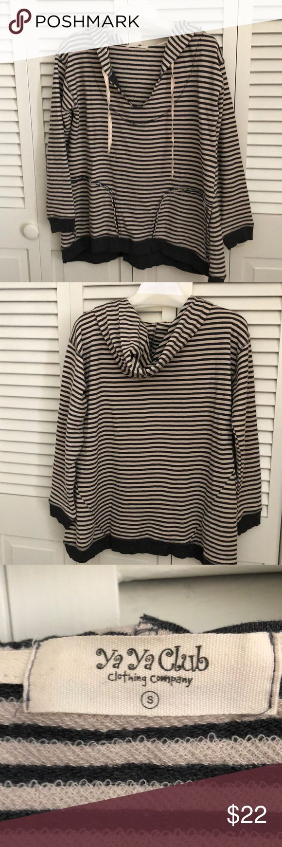 "Ladies sweatshirt This is a ya ya club striped hoodie with pockets. It is a small but runs large for a small. It is gray and ivory 1/4"" stripes. Worn once, like new! yaya club Tops Sweatshirts & Hoodies"