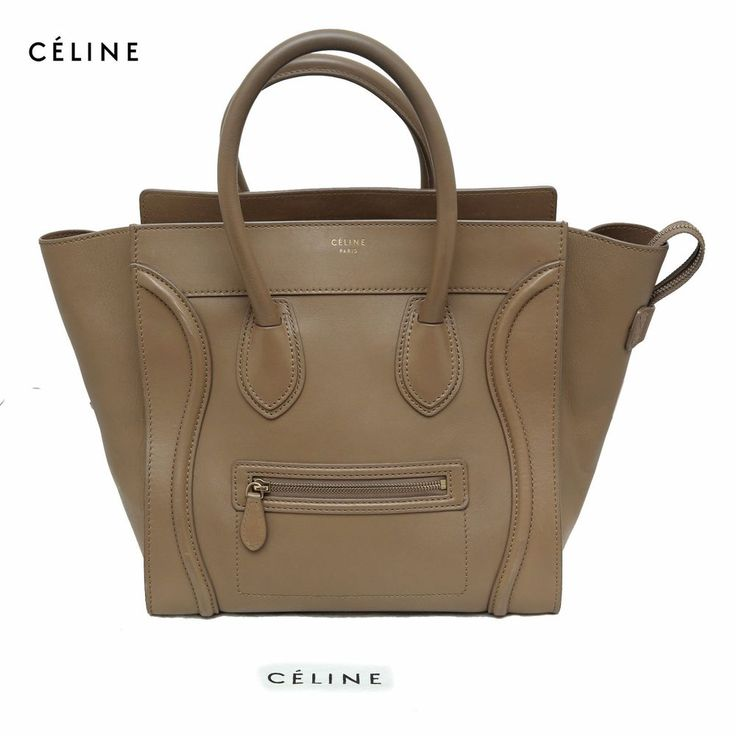 CELINE Light Olive Beige Calfskin Leather Drummed Luggage Tote Bag Large Handbag #Celine #TotesShoppers