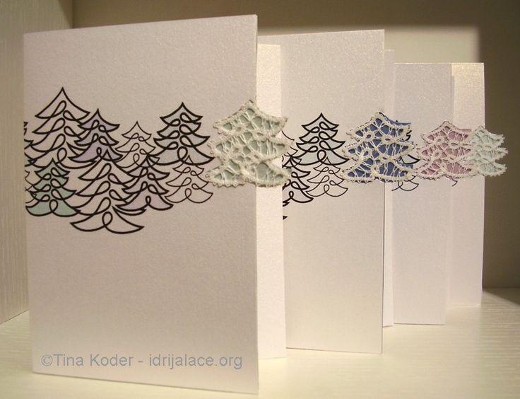 Christmas cards with hand-made Idrija bobbin lace