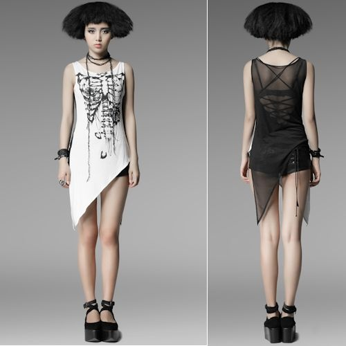 White Black Skeleton Asymmetrical Punk Emo Fashion Tunic Top Clothing SKU-11409123