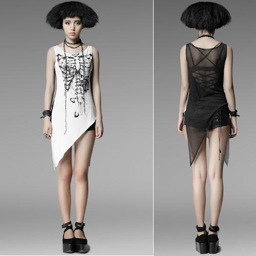 White Black Skeleton Asymmetrical Punk Emo Fashion Tunic Top Clothing SKU-11409123
