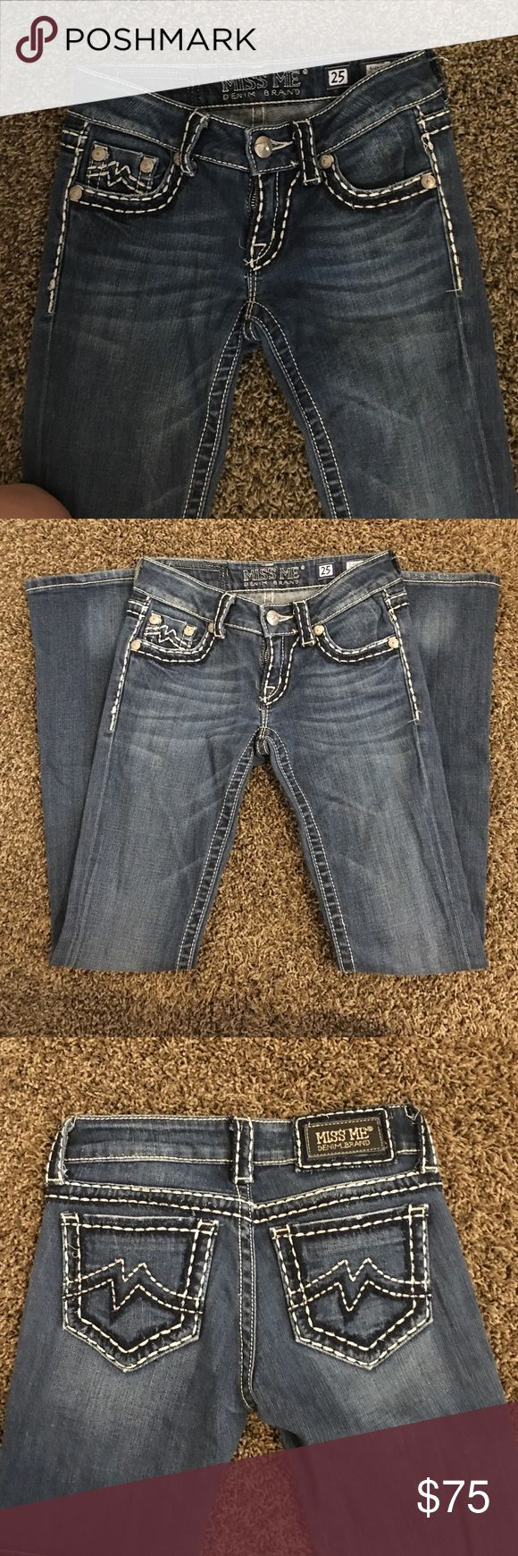 Miss Me Brand Jeans Straight leg Miss Me jeans white thick stitching. Great condition style:sunny boot Miss Me Jeans Straight Leg