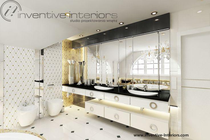 Projekt łazienki Inventive Interiors - biel i złoto - płytki imitujące pikowaną ścianę