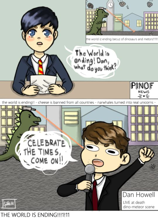 This is so cute, praise the person who made this Dan and Phil the world is ending celebrate the times, come on!