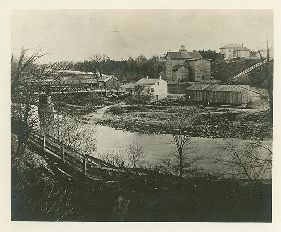 The old mill at Weston, near the site where the Reverend William Arthur Johnson founded Trinity College School in 1864. William Osler attended this school from 1866 to 1867 and counted Rev Johnson among the most influential teachers of his life. The mill is mentioned by Henry Cushing in his biography of Osler, in his description of the school.