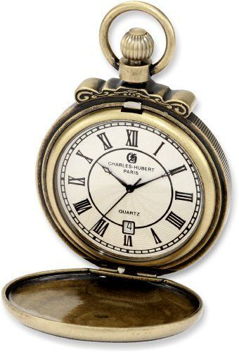 Charles-Hubert, Paris 3863-G Classic Collection Gold-Plated Antiqued Finish Hunter Case Quartz Pocket Watch Charles-Hubert, Paris. $90.00. Antique Finish Hunter Case. Deluxe Gift Box. Lifetime Movement Warranty. White Dial with Date Display. Quartz Movement. Save 33%!
