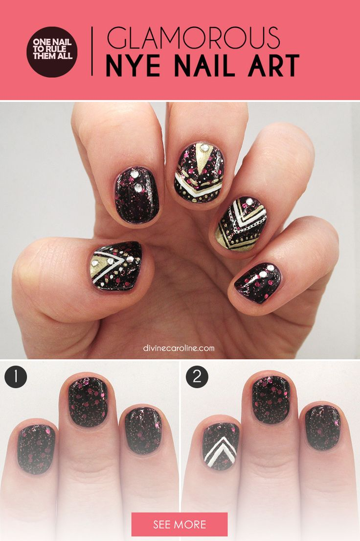 Happy New Year! To celebrate, I've created this glamour nails tutorial that features a tribal print design using rich nail polishes — a look that's sure to make your friends jealous in 2016. - DivineCaroline.com