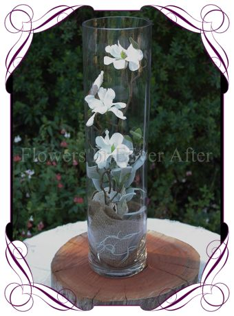 Magnolia cylinder table centerpiece for hire in Melbourne, rustic weddings