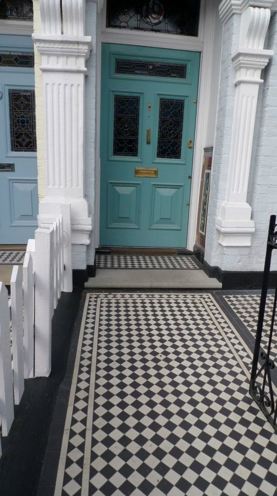 classic victorian tile mosaic path balham london stone entrance step and porch step in york stone london
