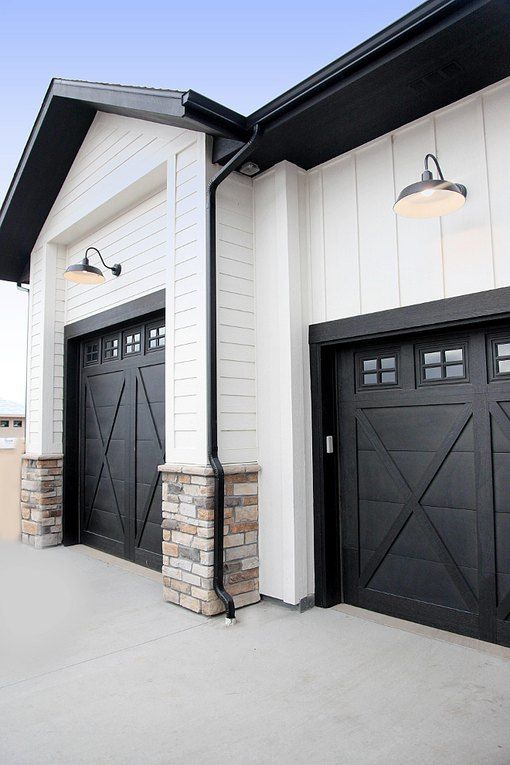 These Garage Doors Are So Pretty You Almost Don T Want To Open Them Hunker In 2020 Modern Farmhouse Exterior House Paint Exterior Garage Doors